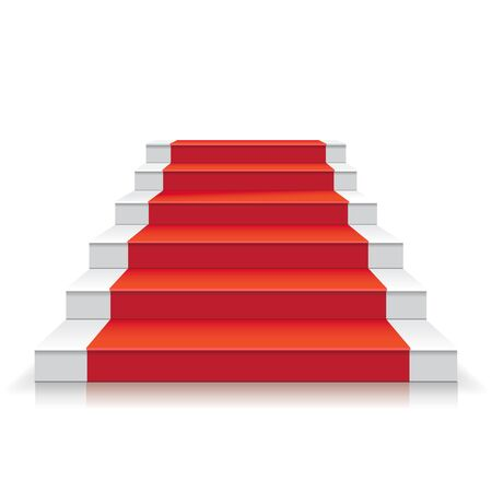 White stairway with red carpet 3d Staircase illustration. Foto de archivo