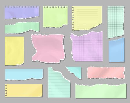 Pieces of torn colorful blank paper, Ripped page note sheets. Blank paper stickers for memo and messages set