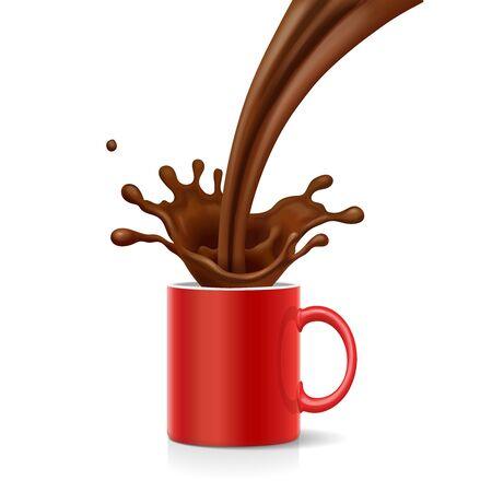 Coffee is splashing in red mug on white