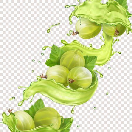 Gooseberry green juice splash. Sweet berry vector. Vektorgrafik