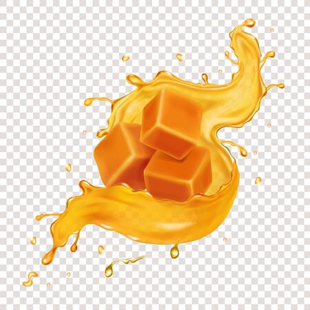 Caramel or honey splash, slices and pieces of caramel candies
