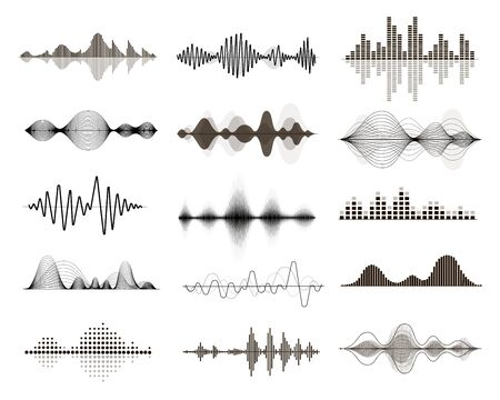 Vector sound waves set. Audio Music waveform, electronic equalizer curve, digital voice signal Vector Illustratie