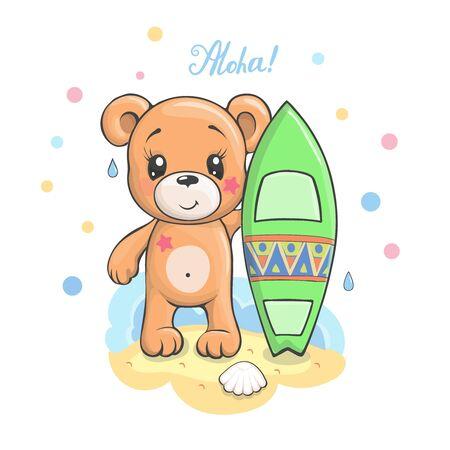 Cute cartoon Teddy bear with surfboard vector illustration Stok Fotoğraf - 149771205