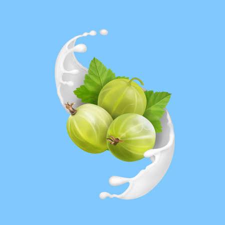 Ripe berry green gooseberry in milk splash 3d illustration