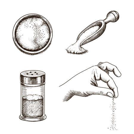 Sea salt hand drawn set. Salt spice packaging in a glass bottle, Hand with salt crystals. vector kitchenware