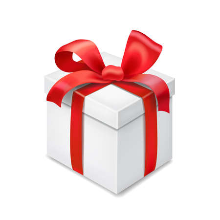 Gift box with red ribbon bow isolated 3d illustration Imagens