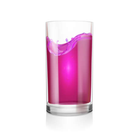 Black currant or blackberry blueberry juice glass 3d illustration.