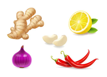 Realistic spices set. Ginger, lemon, red onion, garlic isolated vector illustration