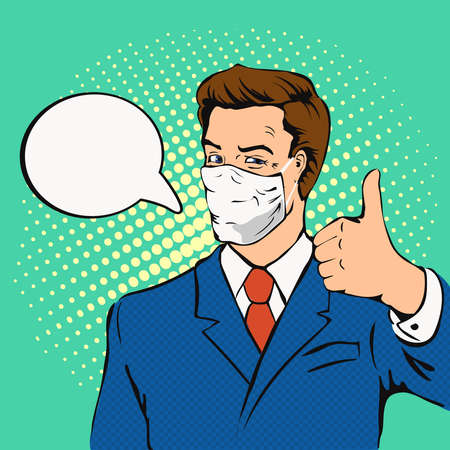 Businesman with medical mask and showing thumbs up. Man wearing hygienic facial protection and speech bubble. Comic book illustration in vector.