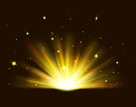 Golden rays rising on black background. Shining golden bright light. Abstract Gold shine burst with sparkles. Vector Illustration 向量圖像