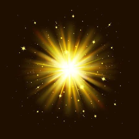 Golden glow light effect. Star burst explosion with sparkles on black background. Glowing shine lights Vector Illustratie