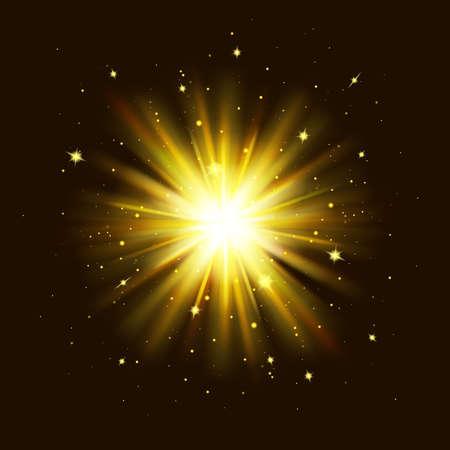 Golden glow light effect. Star burst explosion with sparkles on black background. Glowing shine lights