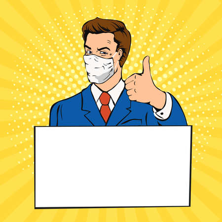 Man with medical mask thumb up. Pop art concept male with empty banner. comic book illustration  イラスト・ベクター素材