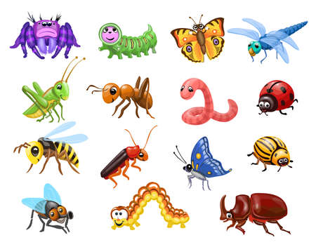 Cartoon insects set. Funny bugs, cute butterfly and beetles. Happy Ant, caterpillar wasp and spider for children vector illustration 向量圖像