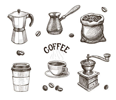 Hand drawn coffee set. Coffee mill, kettle, roasted beans in sack sketch, Cap of espresso or capuchino. Vintage vector collection for coffee shop. Vetores