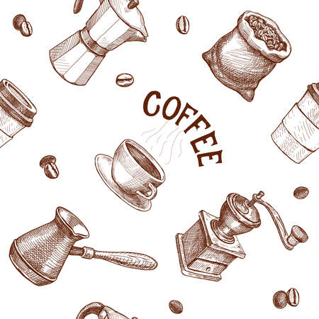 Seamless hand drawn pattern with coffee. Vector engraving illustration. Coffee mill, kettle, roasted beans Cap of espresso or capuchino, pot, mug
