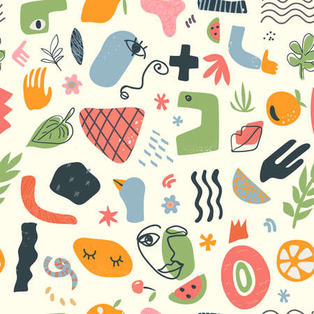Modern seamless pattern. Colorful hand drawn organic shapes, lines. Trendy contemporary floral doodles and face elements. 向量圖像