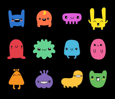 Doodle monsters set. Colorful little funny cute monster characters vector 일러스트