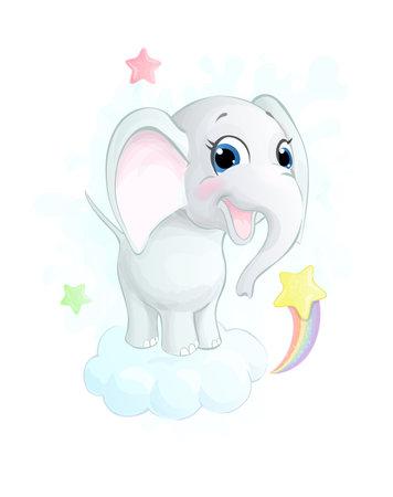 Cute little cartoon elephant on the cloud. Vector illustration Ilustracja