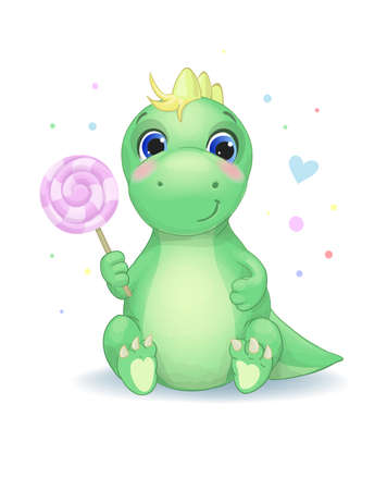 Cute little dinosaur with candy Vector illustration