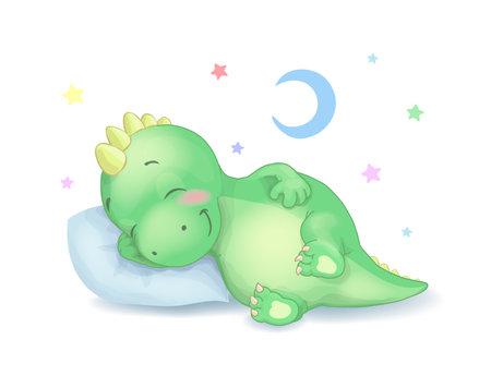 Cute dinosaur sleeping vector illustration