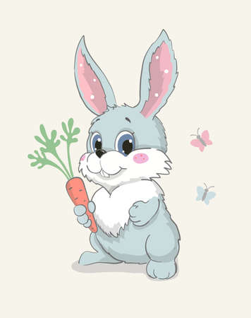 Cute bunny with carrot, lovely sitting rabbit vector illustration