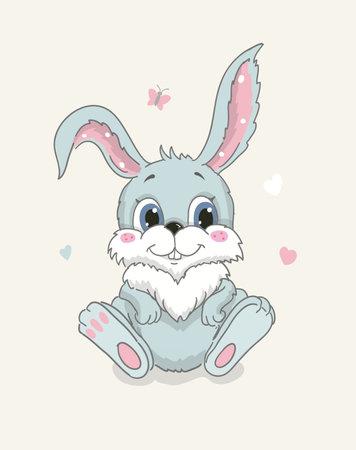 Happy cute bunny cartoon isolated illustration