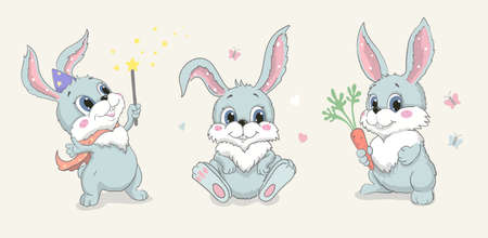 Cute bunny set. Funny rabbit and carrot cartoon character. Baby hare poses vector 向量圖像