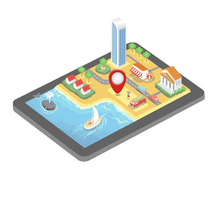 Vector isometric GPS map. Tablet PC with mobile navigation program. A pin is pointing at the resort near the beach and ocean 向量圖像