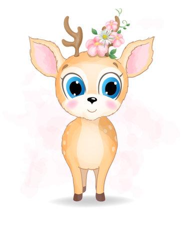 Cute baby Deer watercolor illustration 向量圖像