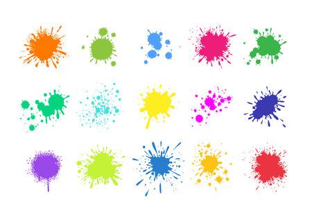 Paint splashes. Grunge colored splatters. Blotter spots. liquid paint drip drop splash set. Vector colorful ink stains.
