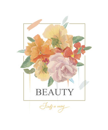 Typography beauty slogan with flowers illustration