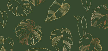Luxury floral background with golden monstera leaves. Pattern philodendron gold line art, tropical plant decor vector