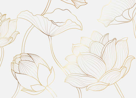 Gold wallpaper luxury design with lotus flower and leaf. Nelumbo lotos golden line arts. Floral design for poster, cover, fabric prints. Vector illustration