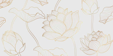 Gold lotus line pattern. Golden design with lotus flower and leaves on white background. Vector illustration. 向量圖像