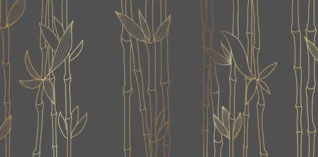 Bamboo luxury gold line design on dark background. Gold bamboo trees walpaper Japanese pattern vector. 向量圖像