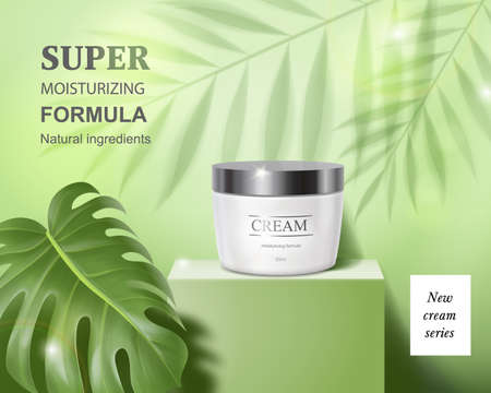 Moisturizing cosmetic products ad, light green background with cream jar on square podium and palm leaves shadows. Face cosmetics, skin care banner