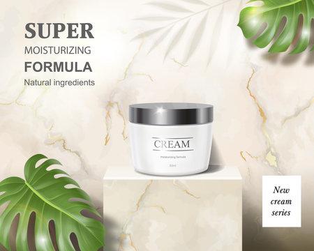 Cosmetic cream jar ad on marble luxury background 向量圖像