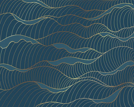 Golden lines, waves pattern on blue background. Sea abstract luxury gold line arts wallpaper. Invitation packaging design, Vector illustration 向量圖像