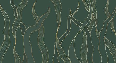 Gold line luxury nature floral leaves background vector. Abstract golden split-leaf seaweed plant lined arts, Vector pattern illustration 向量圖像