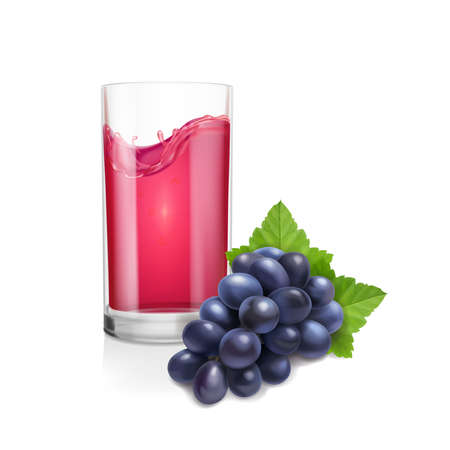 Black bunch of grapes illustration and glass of red wine or grape juice. Realistic vector on white background