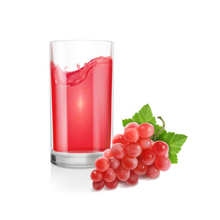 Red grapes bunch and glass of red wine. Fresh table grape realistic Vector illustration