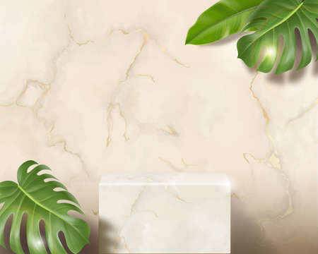 White marble 3d blank rectangle podium in white marble background on top view. Minimal pastel wall scene, decor by green palm leaves. Realistic Vector illustration