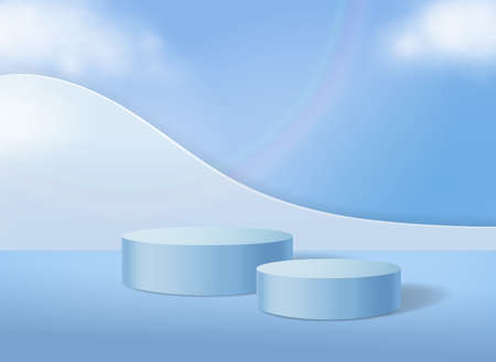 Cylinder abstract podium on pastel blue background minimal scene with geometric platform. Vector 3d illustration with podium and clouds. For cosmetic products advertising