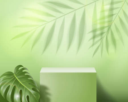 Podium abstract minimal scene on pastel green background Vector 3d illustration stage showcase on pedestal. For cosmetic product presentation or mockup