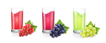 Different varieties of grapes and drinking glasses of wine or juice on white background. Red, black green pink muscatel grape banches 3d vector set 向量圖像