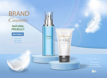 Cosmetic tube with moisturizing cream on vector underwater blue shining background. Premium templates for ads, realistic translucent bottle and white tube and feather