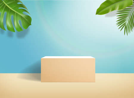 vector 3d podium on minimal blue pastel wall scene an palm leaf, Cosmetic background for product, branding and packaging presentation