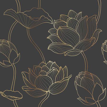 Gold line seamless luxury lotus wallpaper on dark background Golden flower line arts, seamless pattern design for packaging background, print,