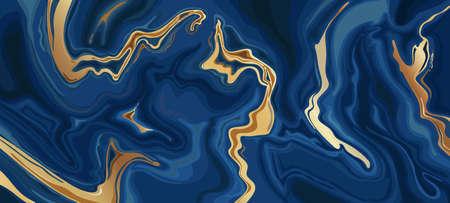 Marble blue abstract background. Liquid indigo marbled texture with golden swirls pattern 向量圖像
